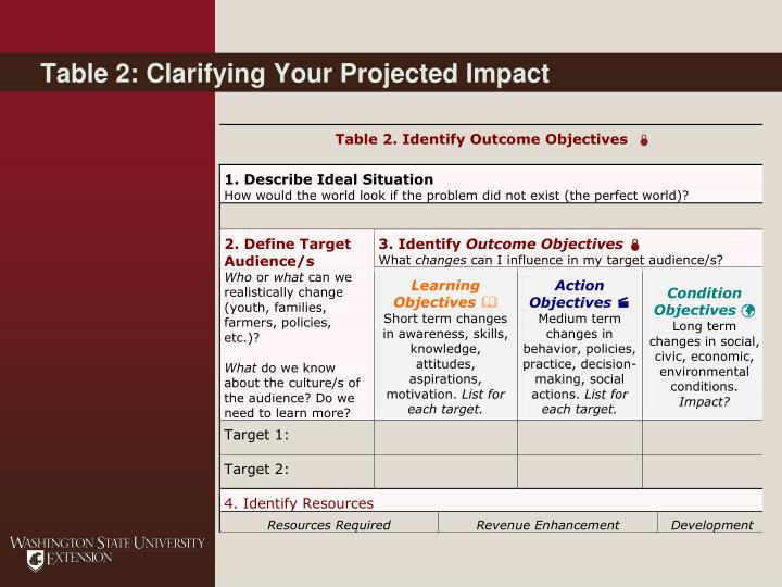Table 2: Clarifying Your Projected Impact