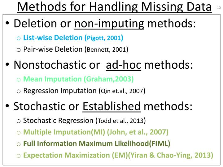 Methods for Handling Missing