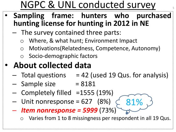 NGPC & UNL conducted survey