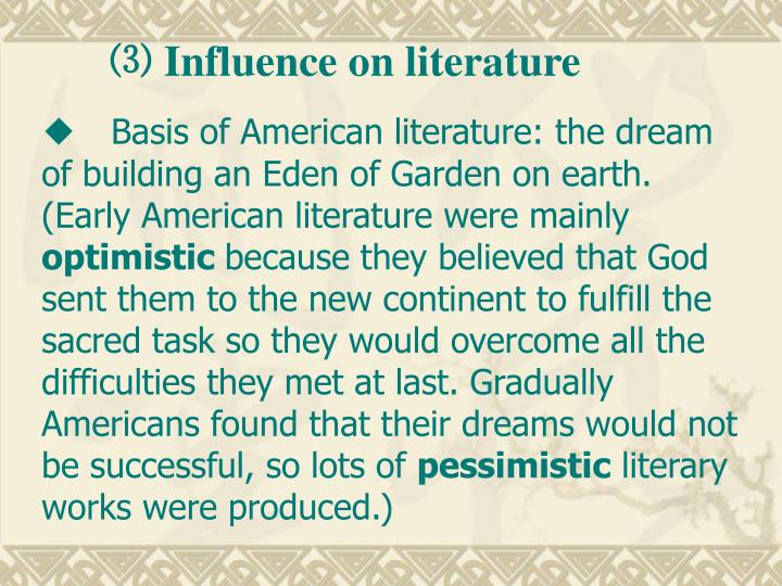 ⑶ Influence on literature