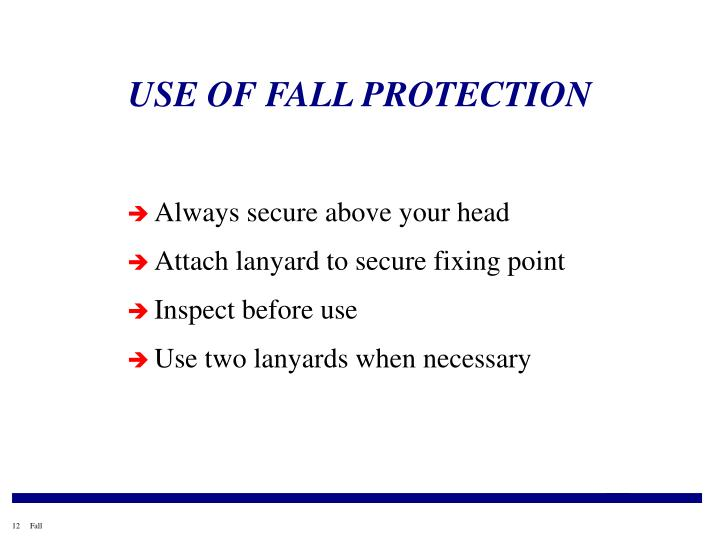 USE OF FALL PROTECTION