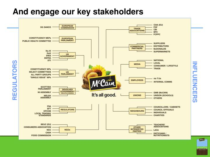 And engage our key stakeholders