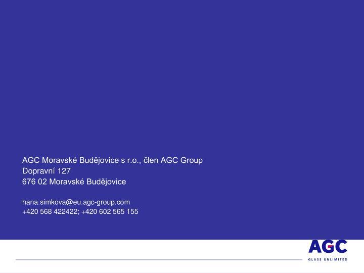 AGC Moravské Budějovice s r.o., člen AGC Group