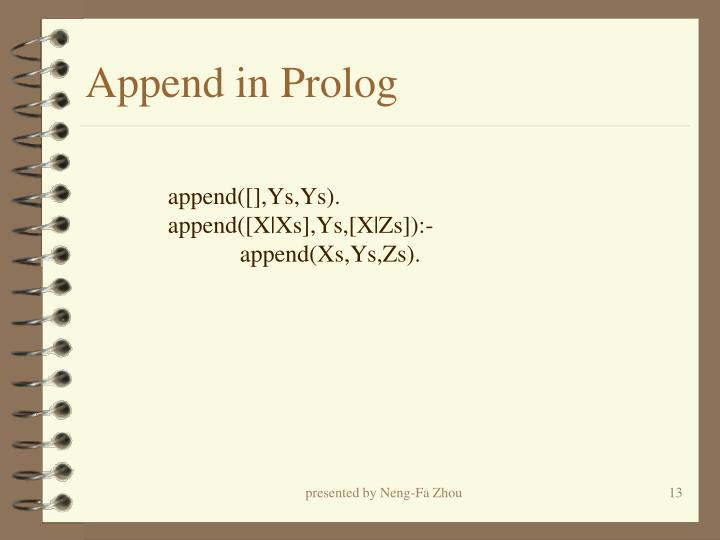 Append in Prolog