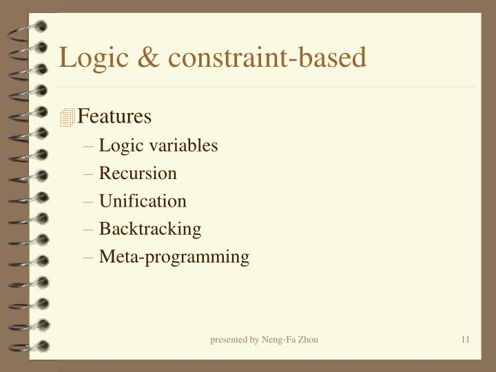 Logic & constraint-based