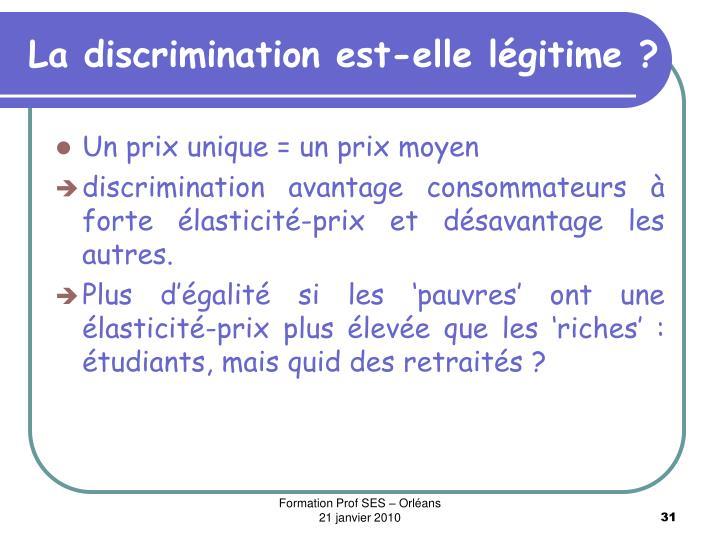 La discrimination est-elle légitime ?