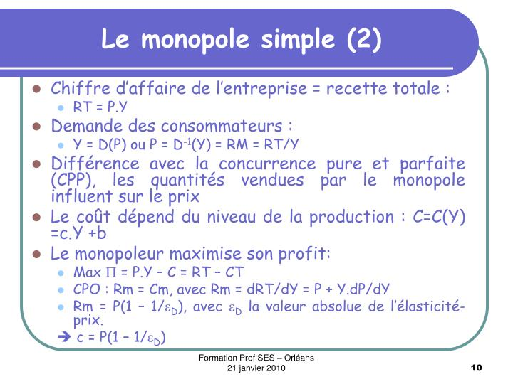 Le monopole simple (2)