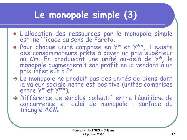 Le monopole simple (3)