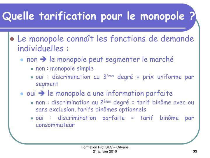 Quelle tarification pour le monopole ?