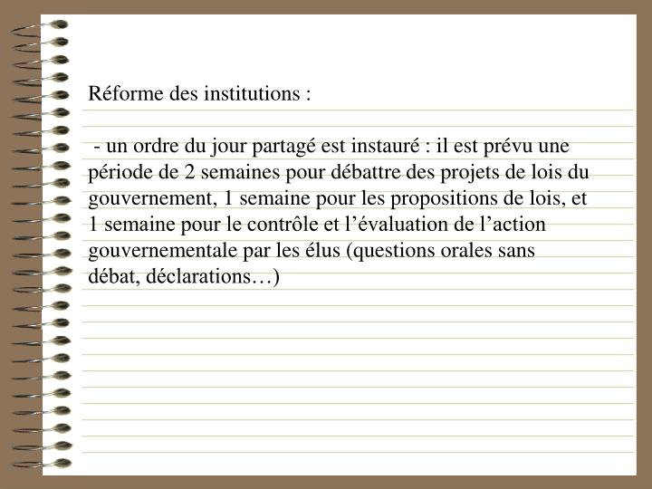 Rforme des institutions :
