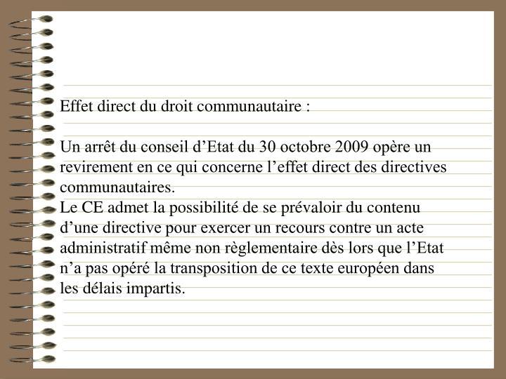 Effet direct du droit communautaire :