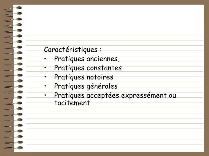 Caractristiques :