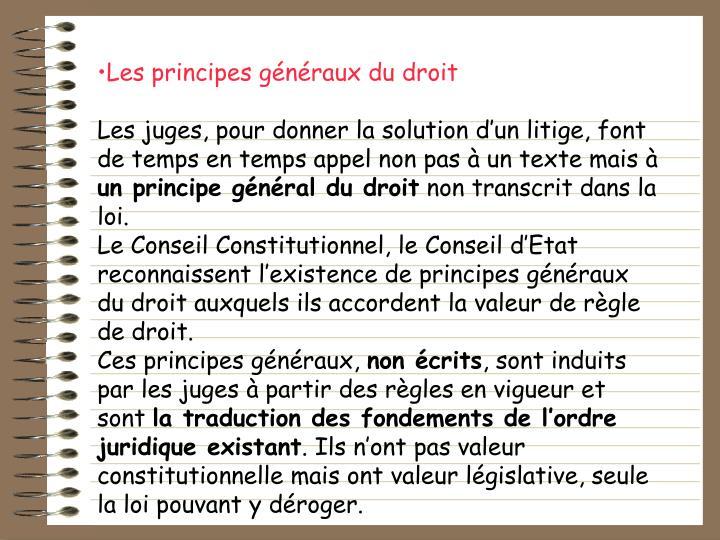 Les principes gnraux du droit