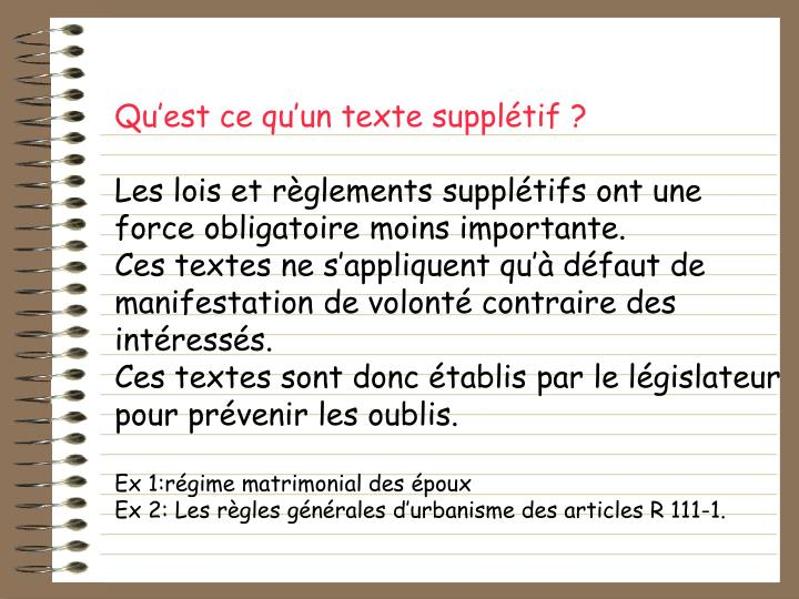 Quest ce quun texte suppltif?