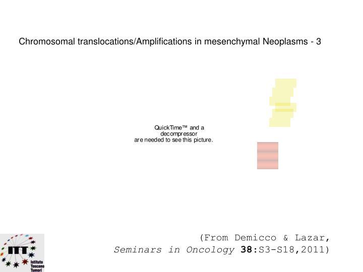 Chromosomal translocations/Amplifications in mesenchymal Neoplasms - 3