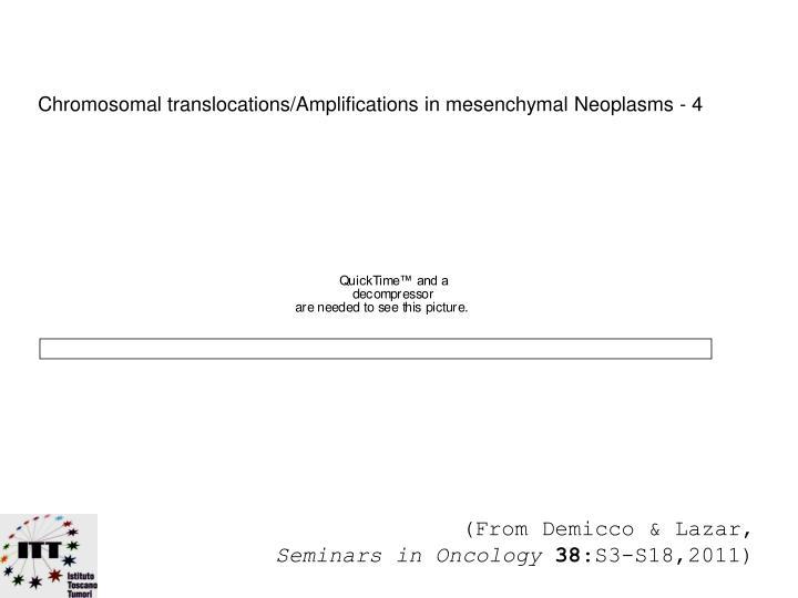 Chromosomal translocations/Amplifications in mesenchymal Neoplasms - 4