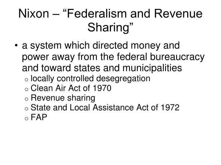 "Nixon – ""Federalism and Revenue Sharing"""
