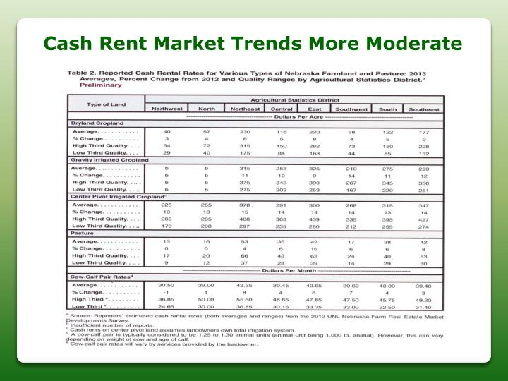 Cash Rent Market Trends More Moderate