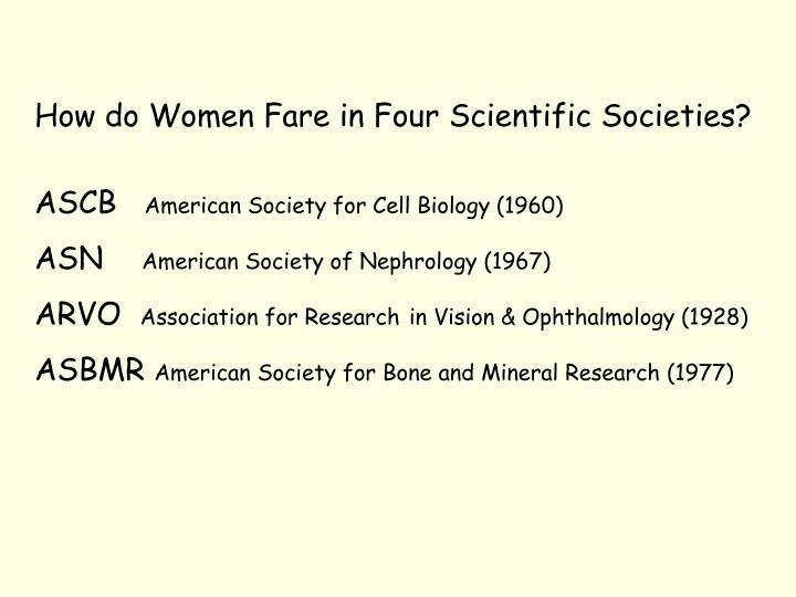How do Women Fare in Four Scientific Societies?
