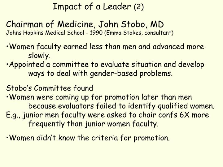 Impact of a Leader