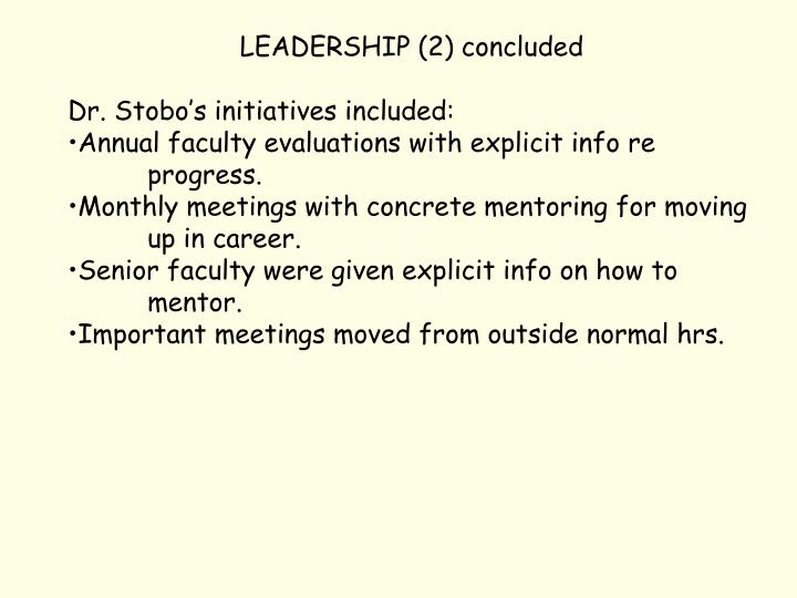 LEADERSHIP (2) concluded
