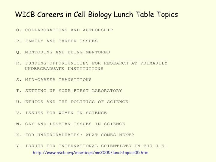 WICB Careers in Cell Biology Lunch Table Topics