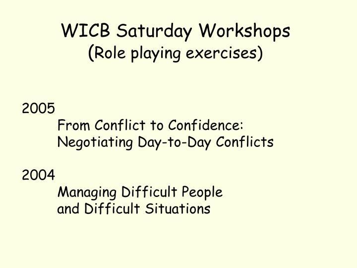 WICB Saturday Workshops