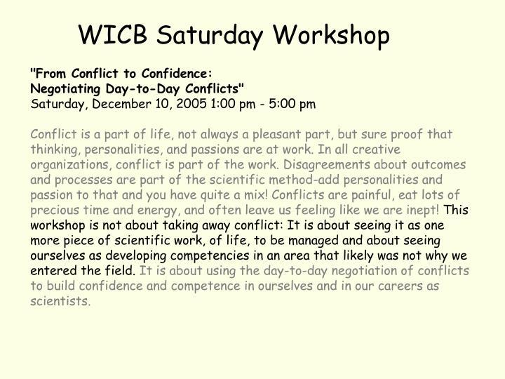 WICB Saturday Workshop
