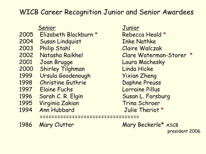 WICB Career Recognition Junior and Senior Awardees