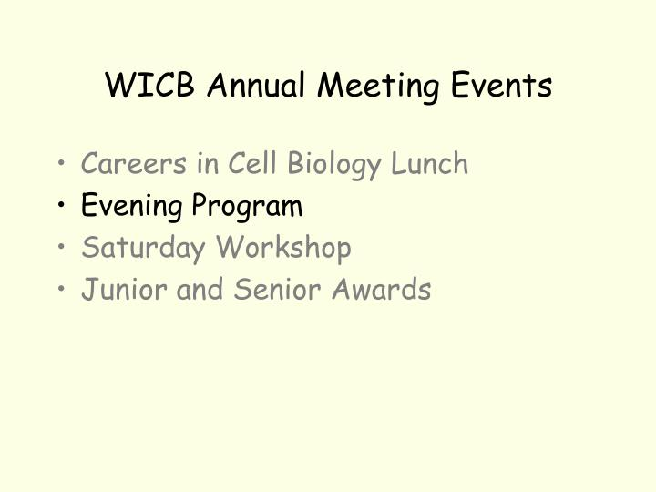 WICB Annual Meeting Events