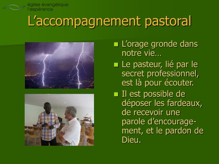 L'accompagnement pastoral