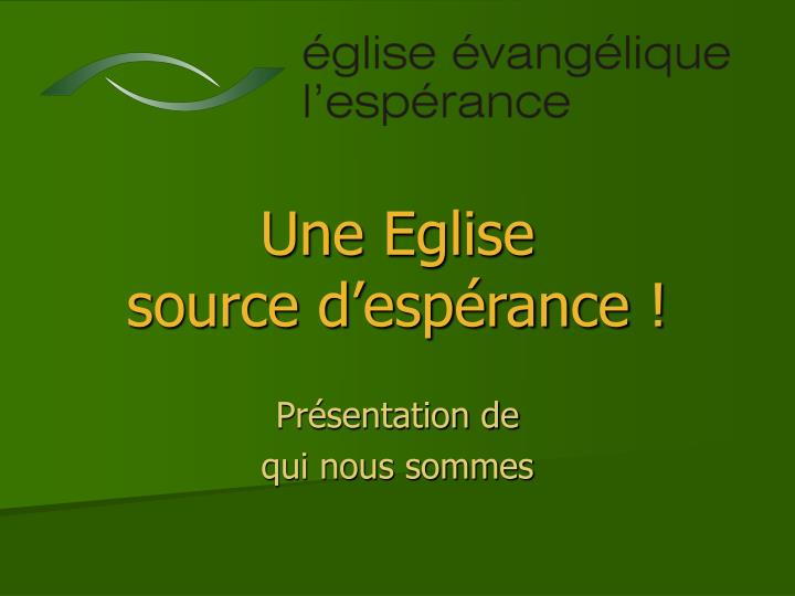 Une eglise source d esp rance