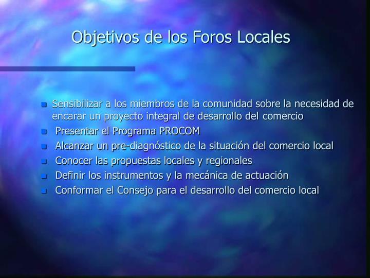 Objetivos de los Foros Locales