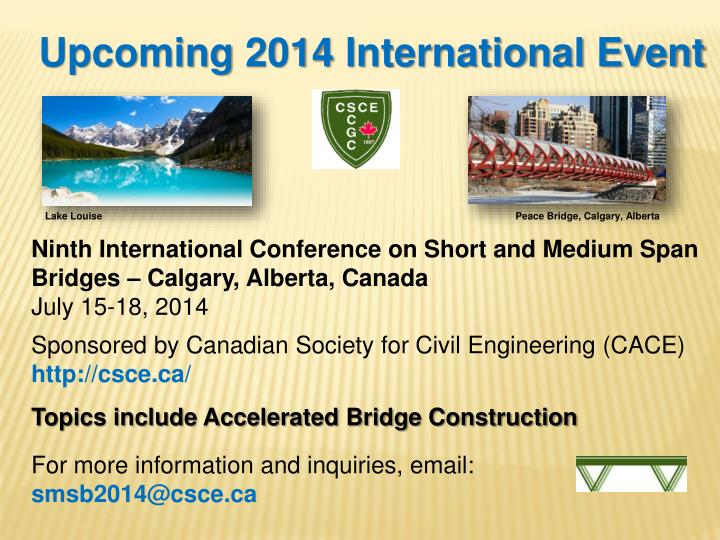 Upcoming 2014 International Event