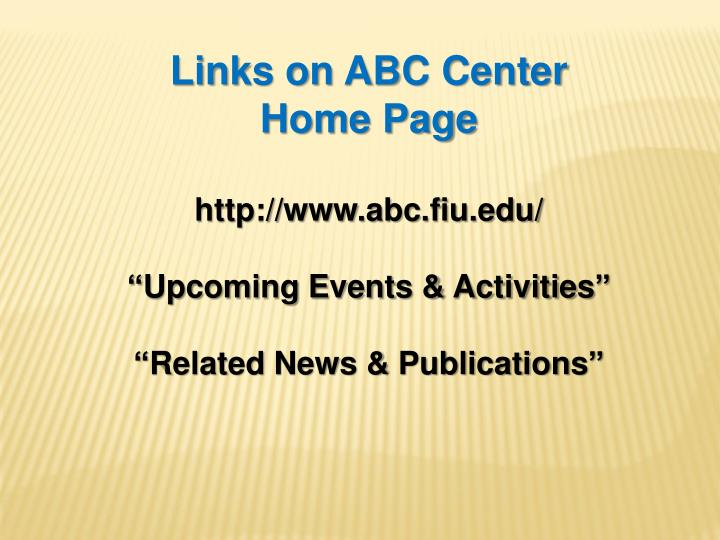 Links on ABC Center