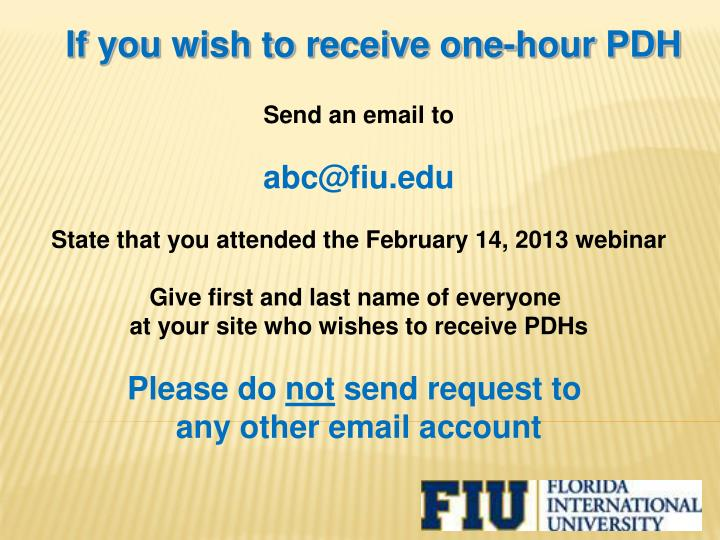 If you wish to receive one-hour PDH