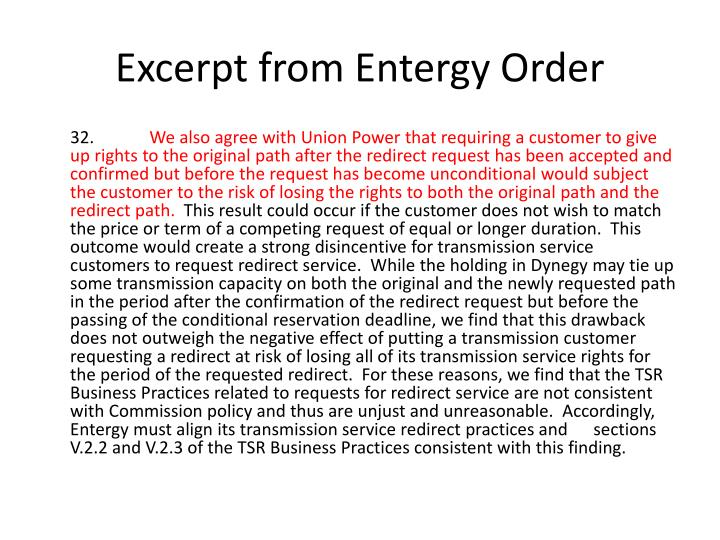 Excerpt from Entergy Order