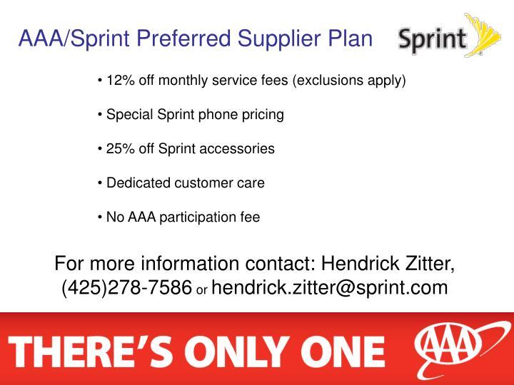 AAA/Sprint Preferred Supplier Plan