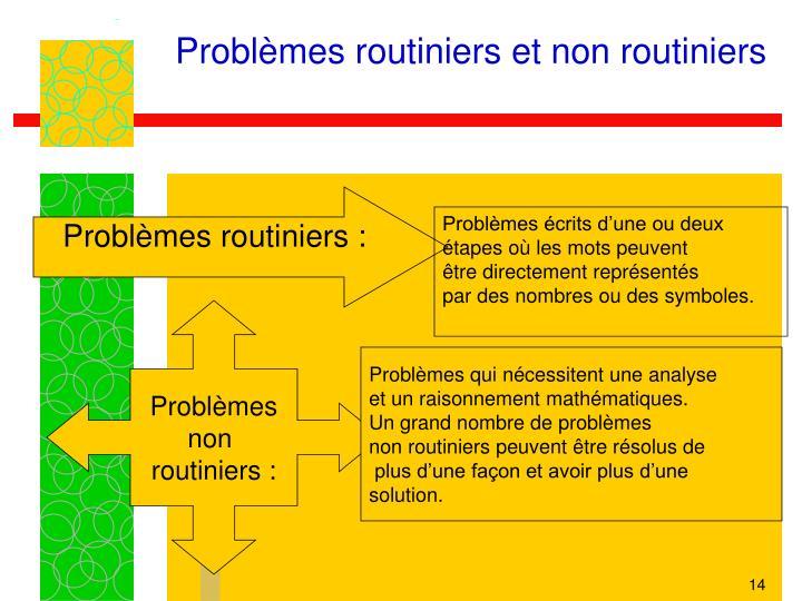 Problèmes routiniers et non routiniers
