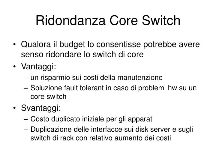 Ridondanza Core Switch