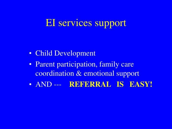 EI services support