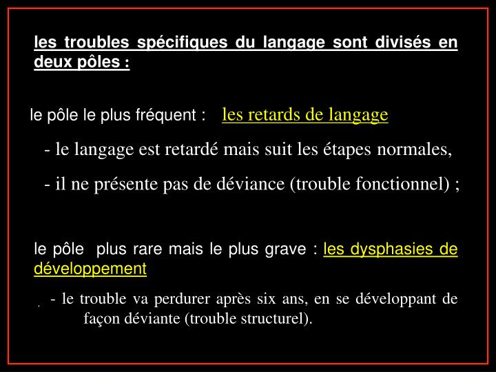 les troubles spécifiques du langage sont divisés en deux pôles