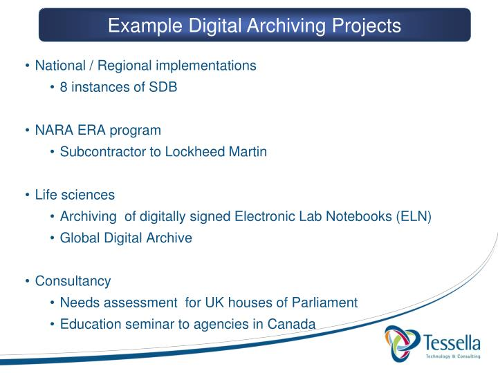 Example Digital Archiving Projects
