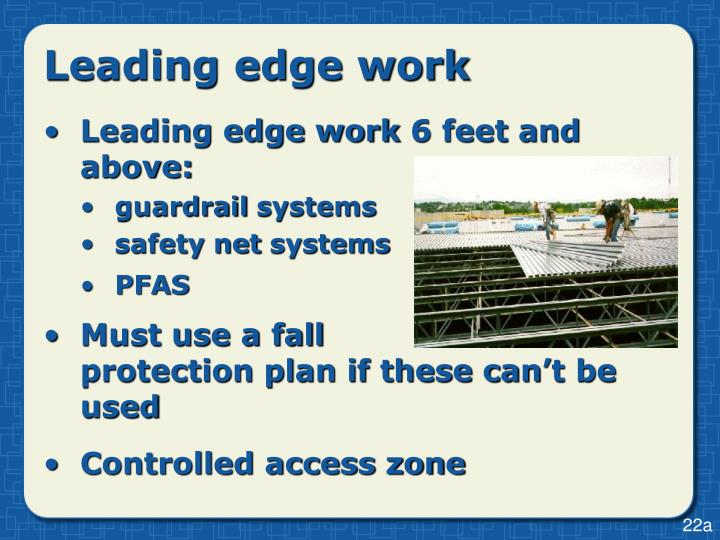 Leading edge work