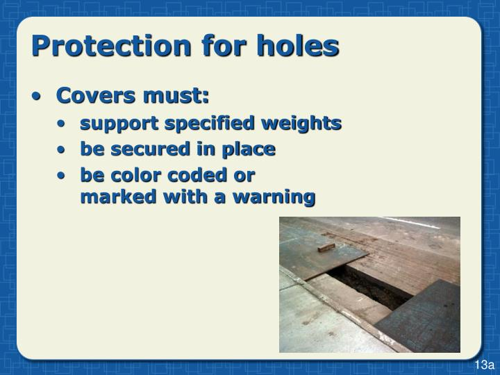 Protection for holes