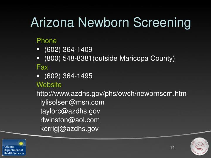 Arizona Newborn Screening