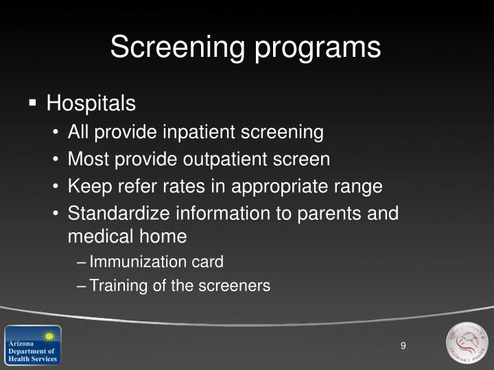 Screening programs