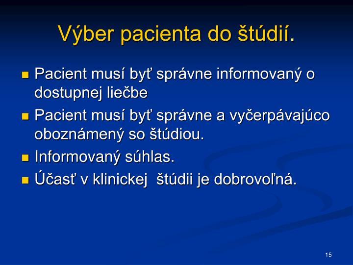 Výber pacienta do štúdií