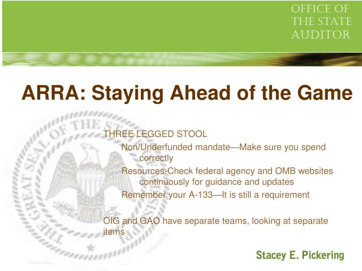 ARRA: Staying Ahead of the Game