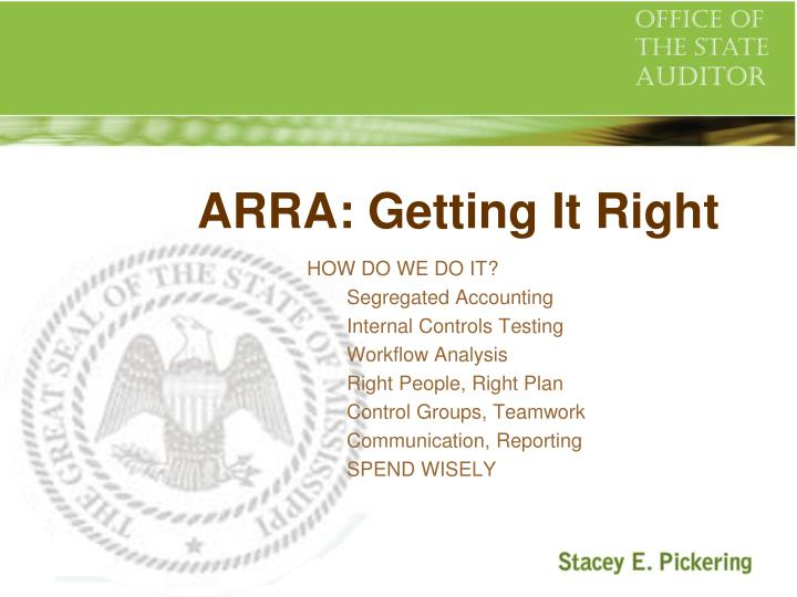 ARRA: Getting It Right